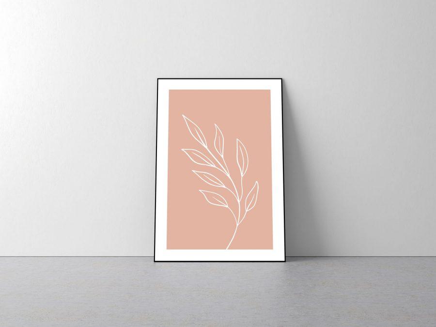 Pink Leaf - Roze blad Botanische Poster