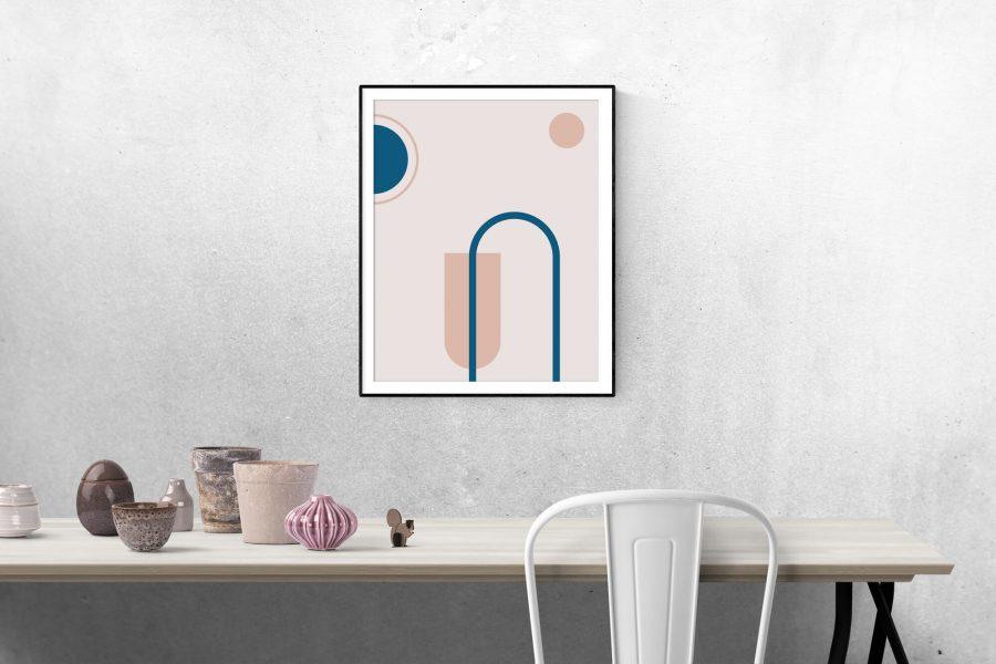 Roze Geometrische Poster - Abstracte Wanddecoratie