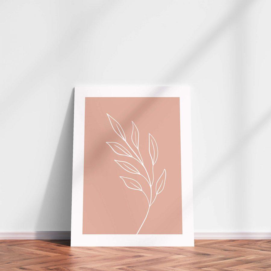 Roze bladeren Botanische poster