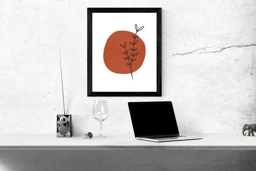 Terracotta abstracte vorm met takje Poster - Botanische Wanddecoratie