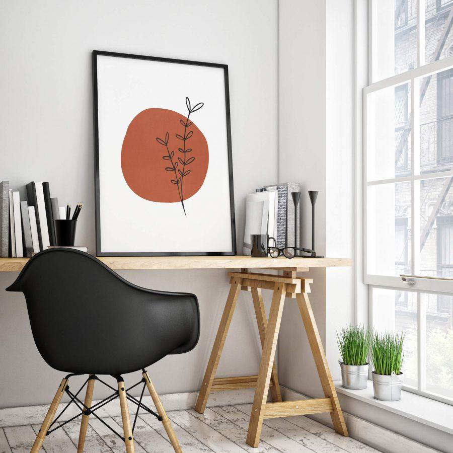 abstracte poster met takje - Botanische Wanddecoratie