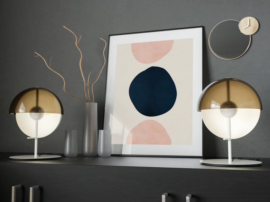 Pink & Blue Abstracte Vormen - Abstracte Wanddecoratie