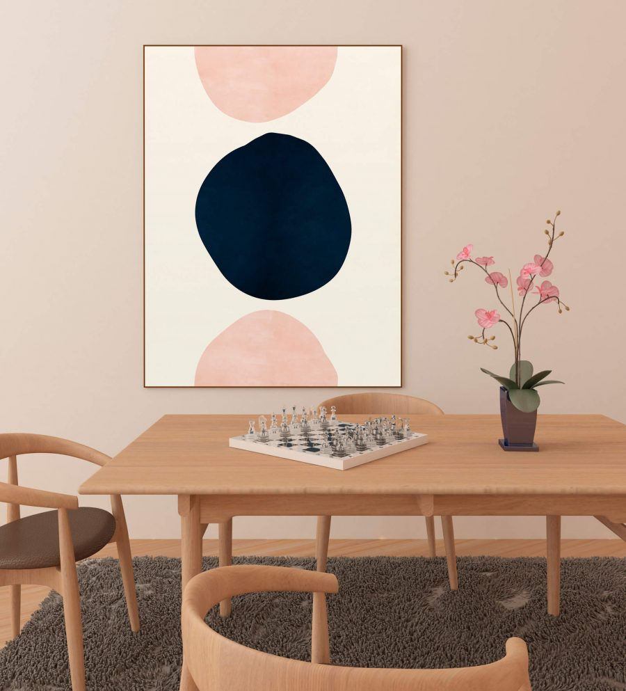 Pink & Blue Abstracte Vormen Poster