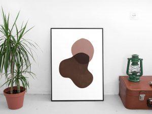 abstracte vormen met warme kleuren poster - Wanddecoratie Scandinavische Stijl