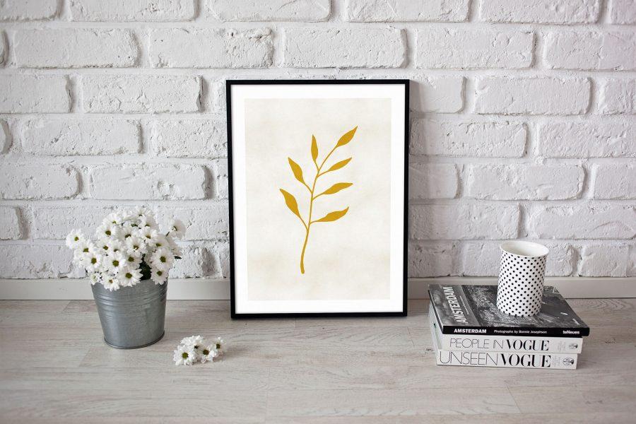 Gold Leaf Gouden Poster - Botanische Wanddecoratie