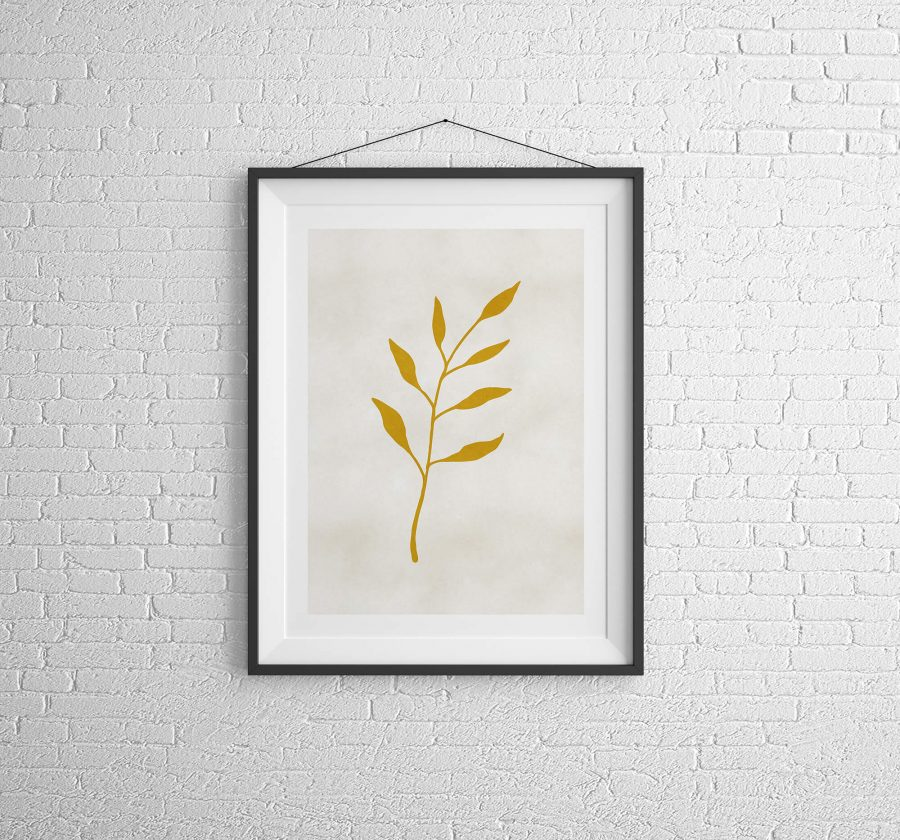 Gouden Blad Botanische Poster - Botanische Wanddecoratie