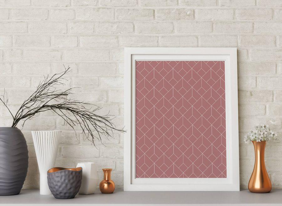 Roze Geometrische Wanddecoratie