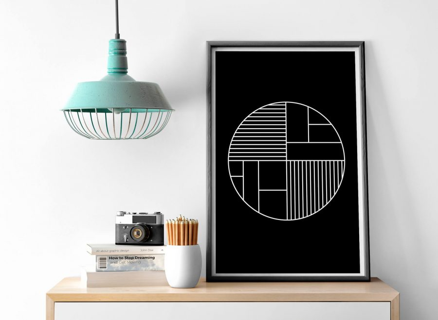 Zwarte Scandinavische Geometrische Poster