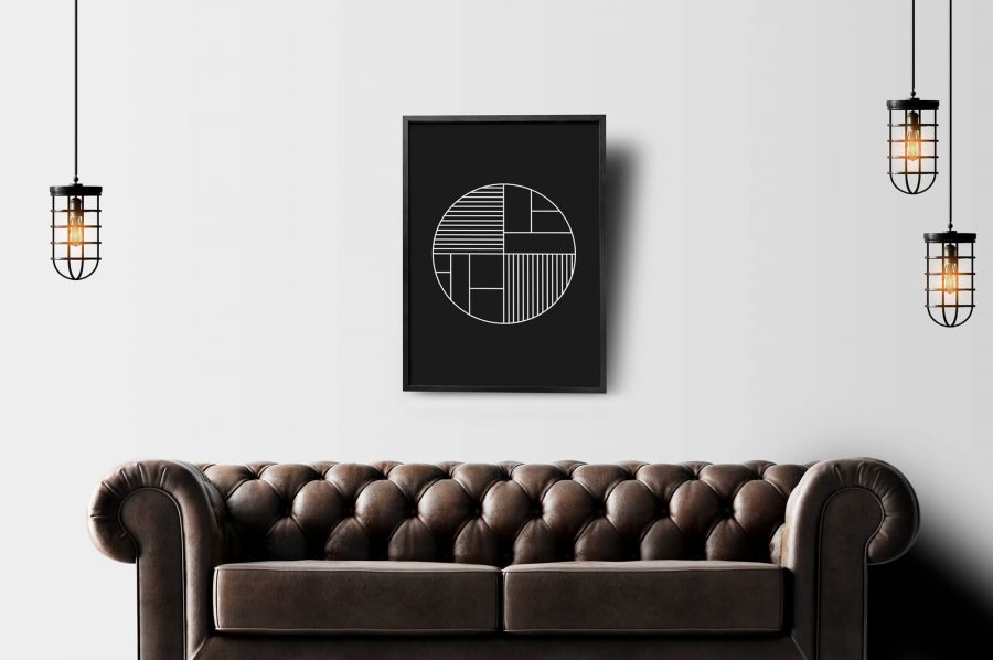 Zwarte Scandinavische Geometrische Poster - Moderne wanddecoratie