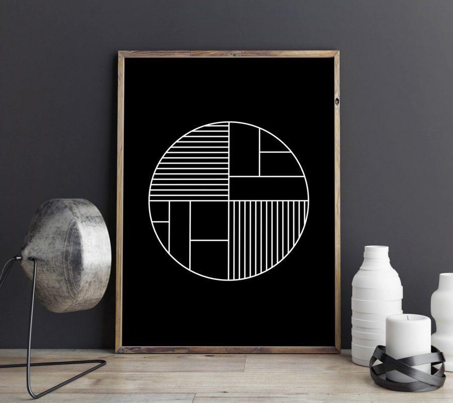 Zwarte Scandinavische Poster