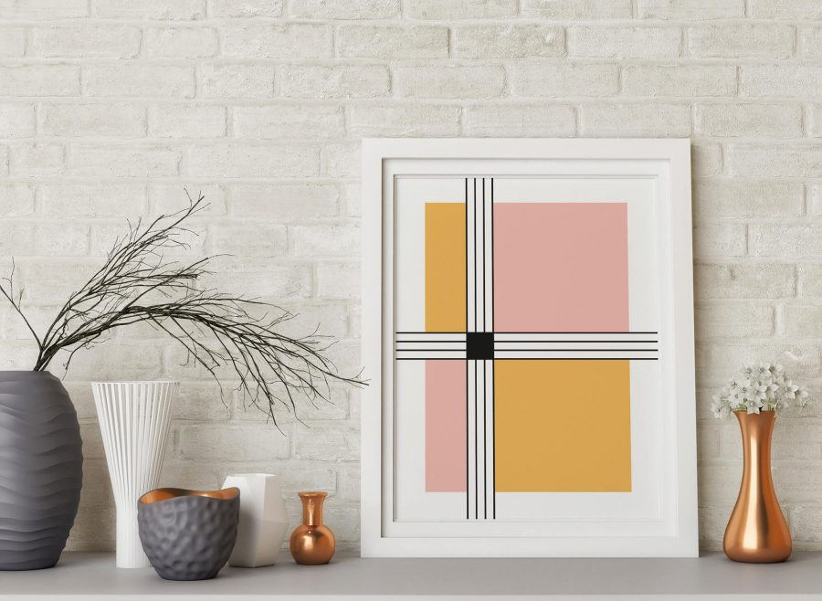 stripes and squares Geometrische poster - Abstracte Wanddecoratie