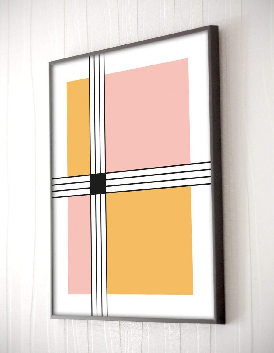 stripes and squares Scandinavische poster - Geometrische Wanddecoratie