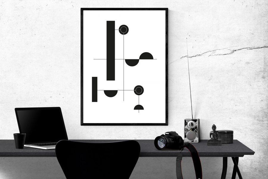 Abstracte Zwart Wit Geometrie Poster - Geometrische Wanddecoratie