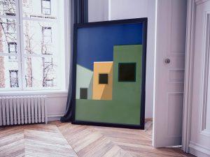 Drie Huizen - Abstracte Architectuur Poster