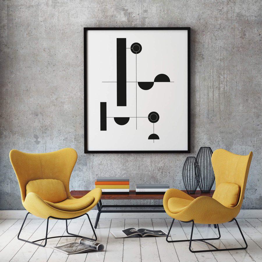 Zwart Wit Geometrische Poster
