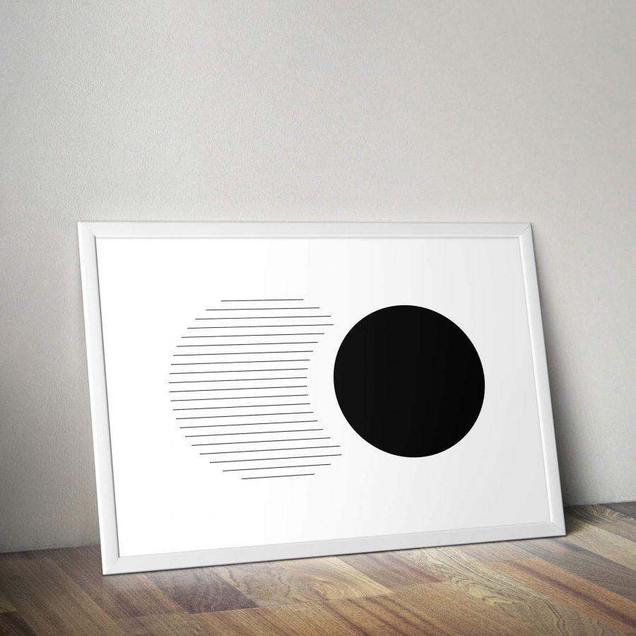 Abstracte zwarte cirkels - geometrische poster