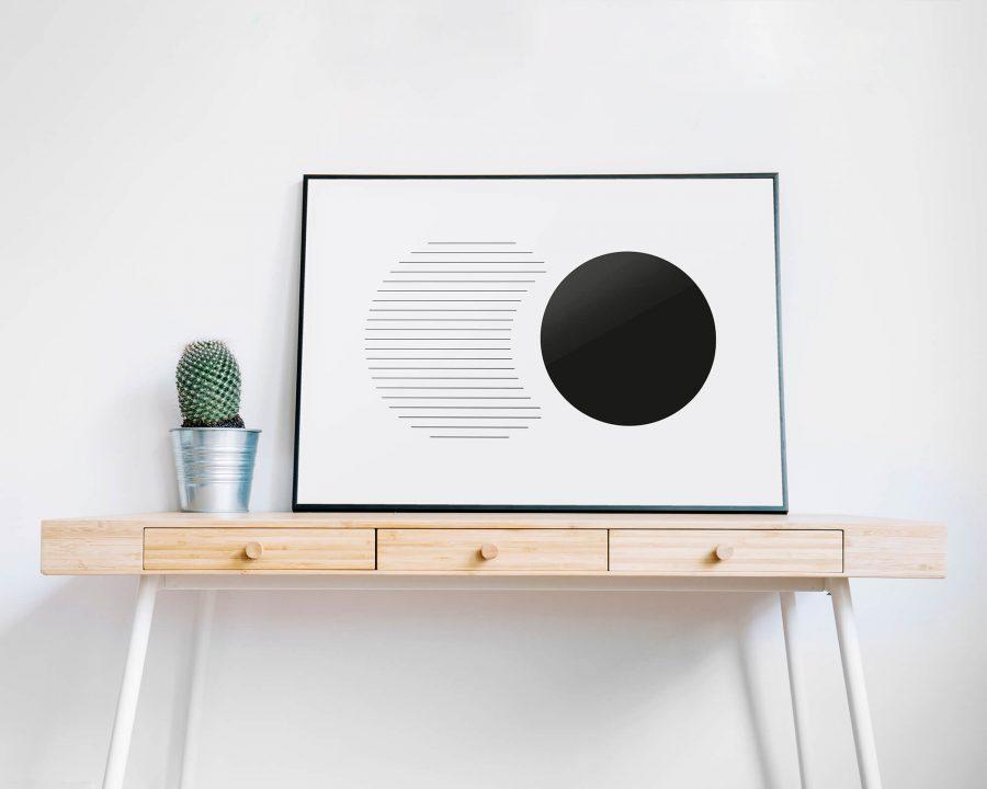 Geometric Black Circles - Geometrische Poster