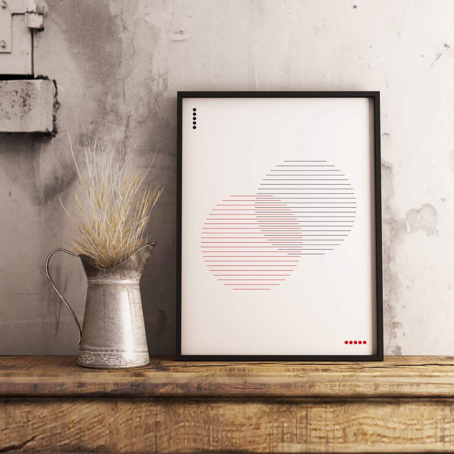 Minimalistische cirkels poster - abstracte wanddecoratie