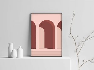 Pink Architecture - Abstracte Architectuur Poster