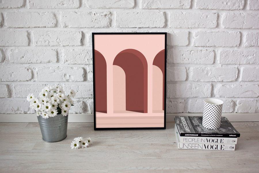 Roze Abstracte Architectuur Poster