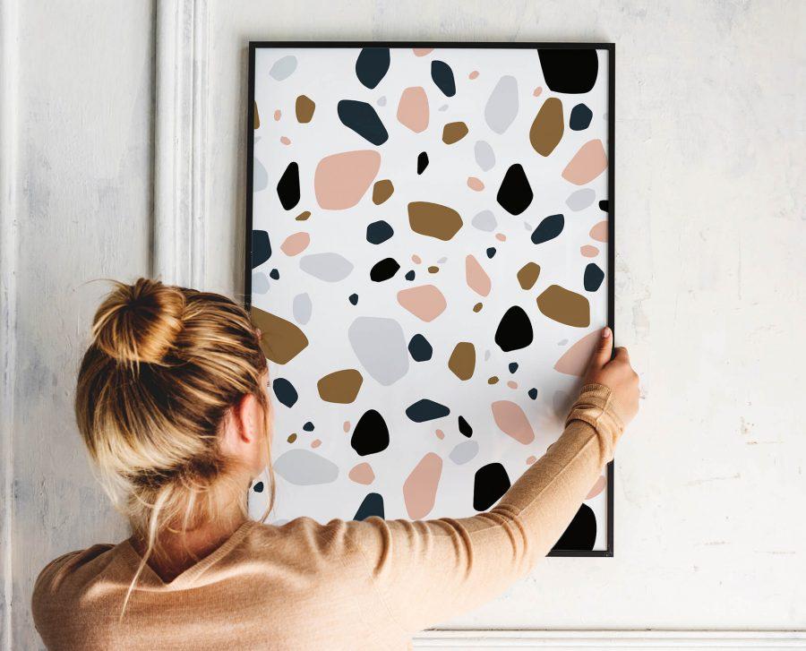 Terrazzo Patroon Abstracte Poster Kopen