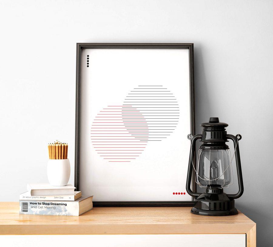 abstracte minimalistische poster met cirkels