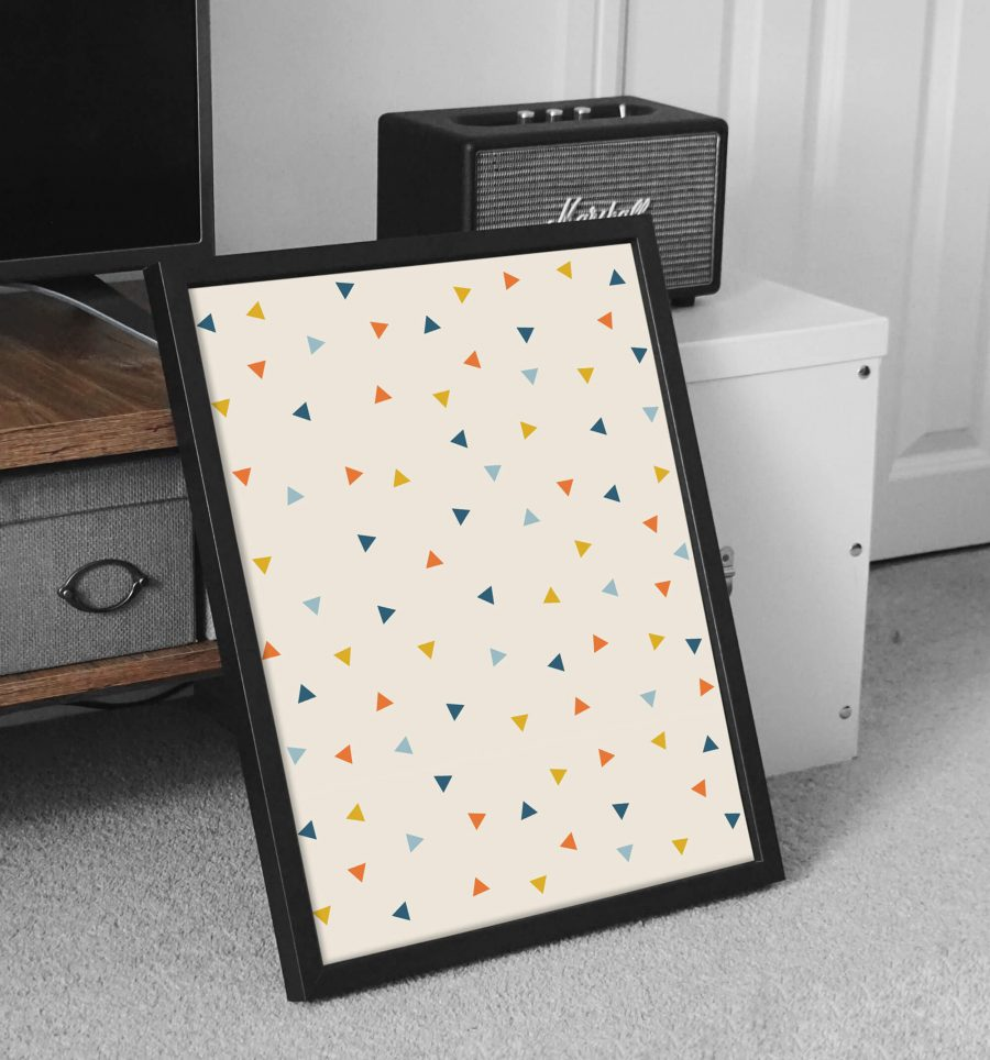 Abstracte driehoekjes patroon poster