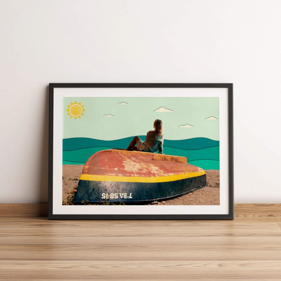 A Day At The Beach - Surrealistische Collage Poster