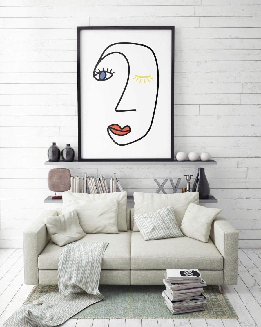 Abstract Poster met lijntekening Gezicht in Rood, Geel en Blauw