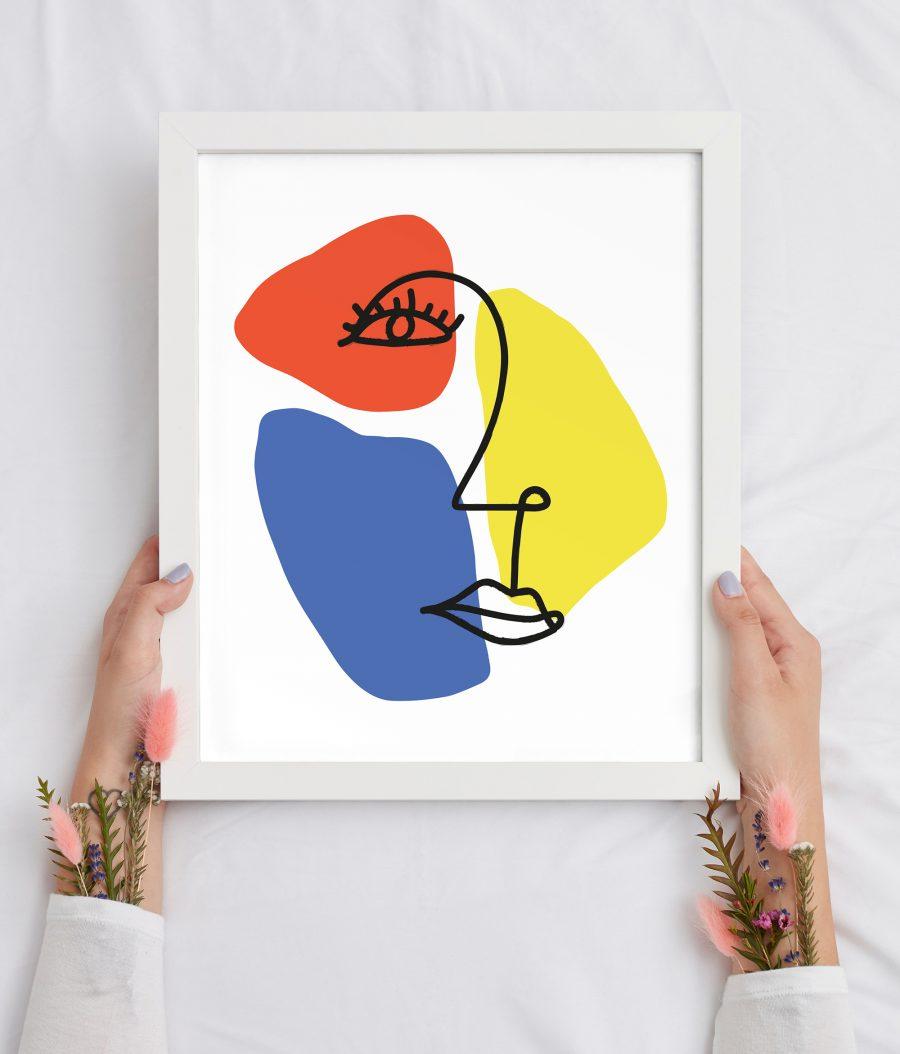 Abstracte Poster met gezicht en vormen in primaire kleuren
