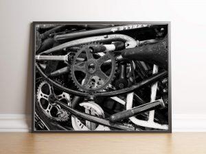 Fietsonderdelen zwart wit Industriële Poster