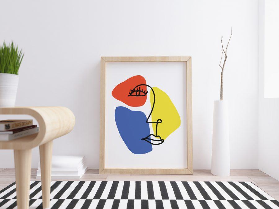 Gezicht met Abstracte Vormen in Primaire Kleuren - Abstracte Poster
