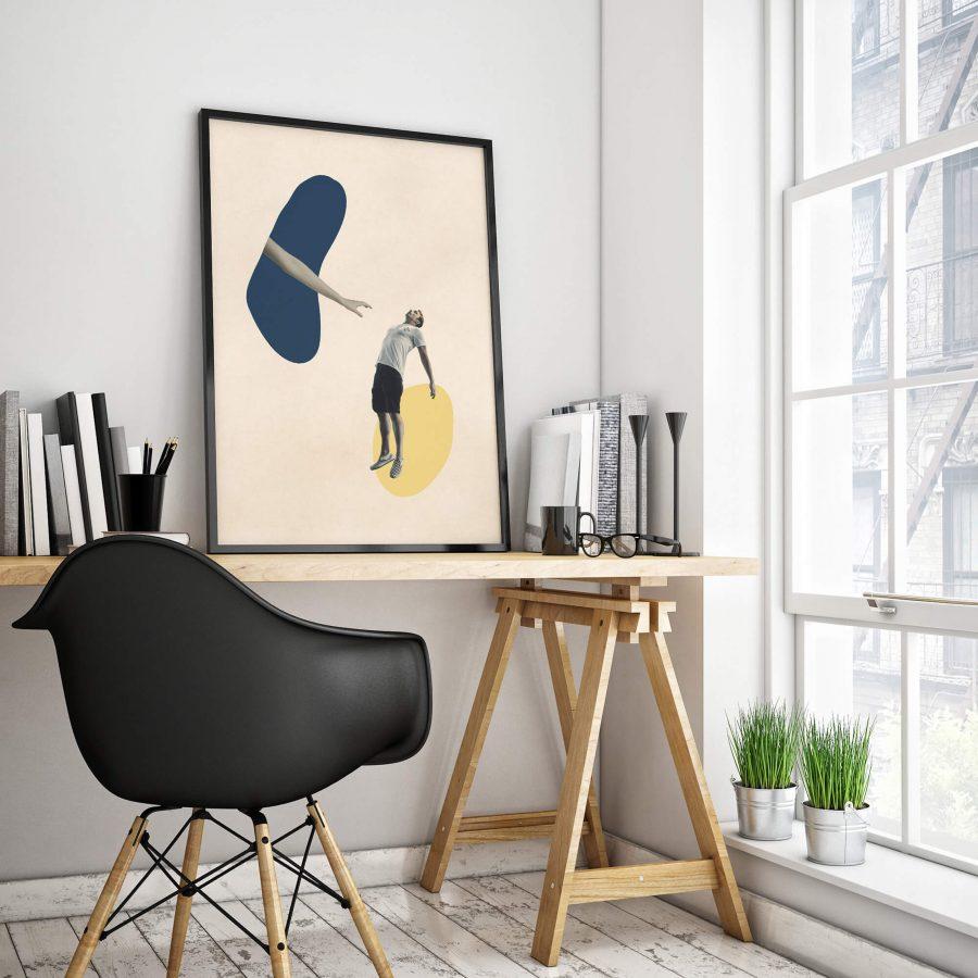 Surrealistische Abstracte Poster met abstracte vormen