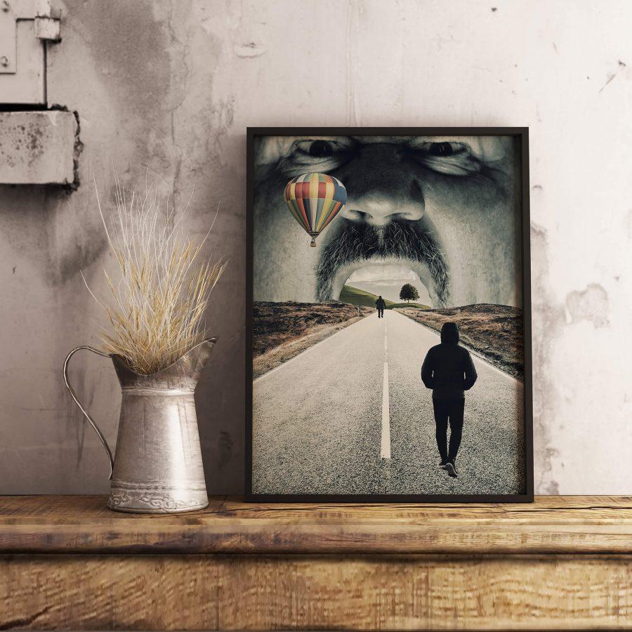 Surrealistische Poster - Road To Somewhere - Surrealisme Wanddecoratie