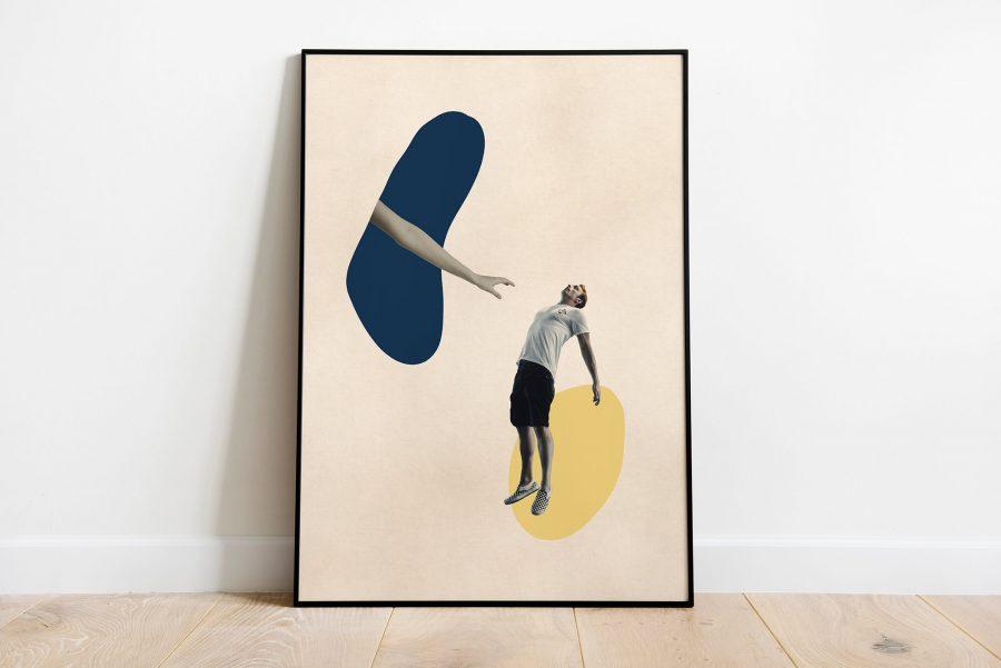 Surrealistische Poster met reikende hand naar man
