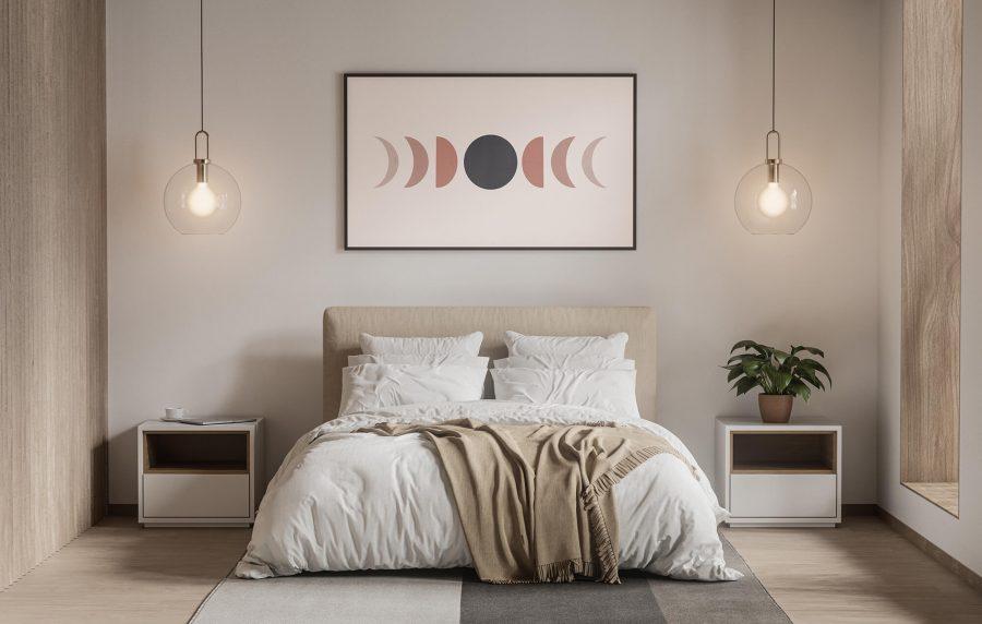 Maan fasen Scandinavische poster en print