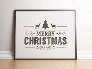 Industriele kerst poster in zwart