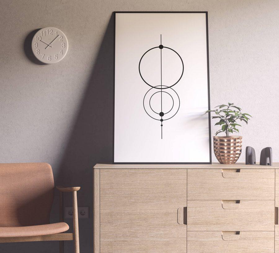 Scandinavische minimalistische poster en print